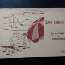 Postales: DEPLEGABLE DE 10 POSTALES DE SAN SEBASTIAN. FOTOCOLOR. Lote 59599479
