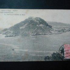 Postales: POSTAL DE SAN SEBASTIAN. EL CASTILLO DESDE LA ISLA. HAUSER Y MENET. CIRCULADA 1907. SELLO Y MATASELL. Lote 59693011