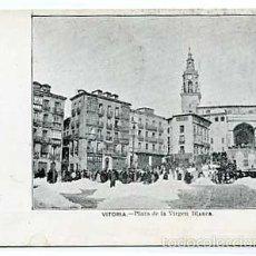 Postales: VITORIA PLAZA DE LA VIRGEN BLANCA. REVERSO SIN DIVIDIR. SIGLO XIX. SIN CIRCULAR. Lote 60366499