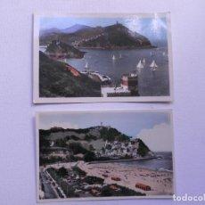 Postales: SAN SEBASTIAN (2 POSTALES-FOTOS COLOREADAS) AÑOS 50. Lote 61479311