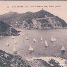 Postales: POSTAL SAN SEBASTIAN. ISLA DE SANTA CLARA Y MONTE IGUELDO. 35 GALARZA. BARCOS. Lote 121614868