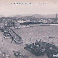 Cartes Postales: POSTAL SAN SEBASTIAN. FECHADA AÑO 1909. VISTA DESDE EL CASTILLO. 5 GALARZA. Lote 66767058
