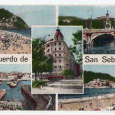 Postales: RECUERDO DE SAN SEBASTIÁN. 5 VISTAS. ESCRITA EN EL AÑO 1962.. Lote 67185969