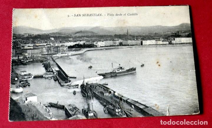 POSTAL DE SAN SEBASTIAN: VISTA DESDE EL CASTILLO (Postales - España - Pais Vasco Antigua (hasta 1939))