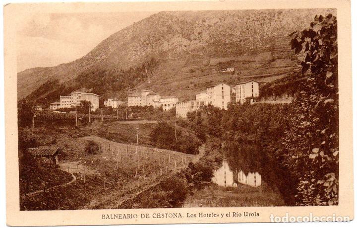 PS7087 BALNEARIO DE CESTONA 'LOS HOTELES Y RÍO UROLA'. SIN REFERENCIAS. CIRCULADA. 1946 (Postales - España - País Vasco Moderna (desde 1940))