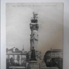 Postales: SAN SEBASTIAN. MONUMENTO DEL CENTENARIO DE 1913. TARJETA POSTAL DE UNION POSTAL UNIVERSAL. EDICION D. Lote 68772253