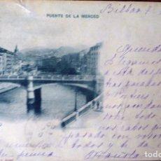 Postales: PAIS VASCO, POSTAL BILBAO, PUENTE DE LA MERCED. SELLO PELON ALFONSO XIII. Lote 73494687