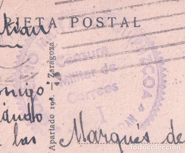 Postales: POSTAL SAN SEBASTIAN - HOETELES Y PASEO DE LA CONCHA - CIRCULADA. SELLO CENSURA MILITAR - ARRIBAS - Foto 2 - 74235847