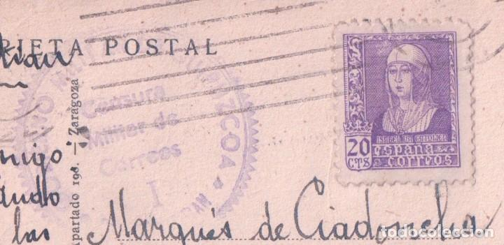 Postales: POSTAL SAN SEBASTIAN - HOETELES Y PASEO DE LA CONCHA - CIRCULADA. SELLO CENSURA MILITAR - ARRIBAS - Foto 3 - 74235847