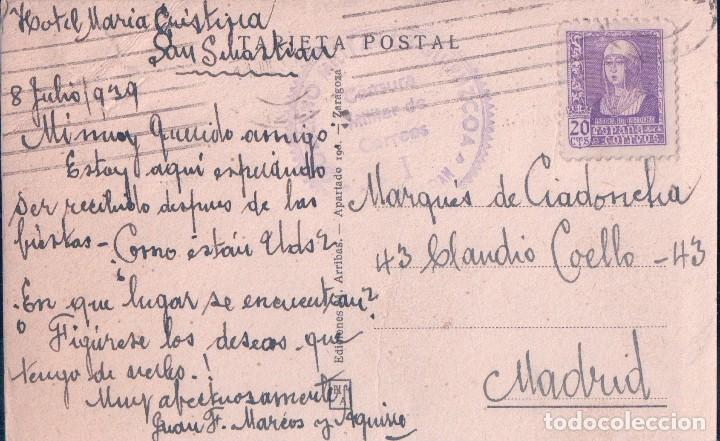 Postales: POSTAL SAN SEBASTIAN - HOETELES Y PASEO DE LA CONCHA - CIRCULADA. SELLO CENSURA MILITAR - ARRIBAS - Foto 4 - 74235847
