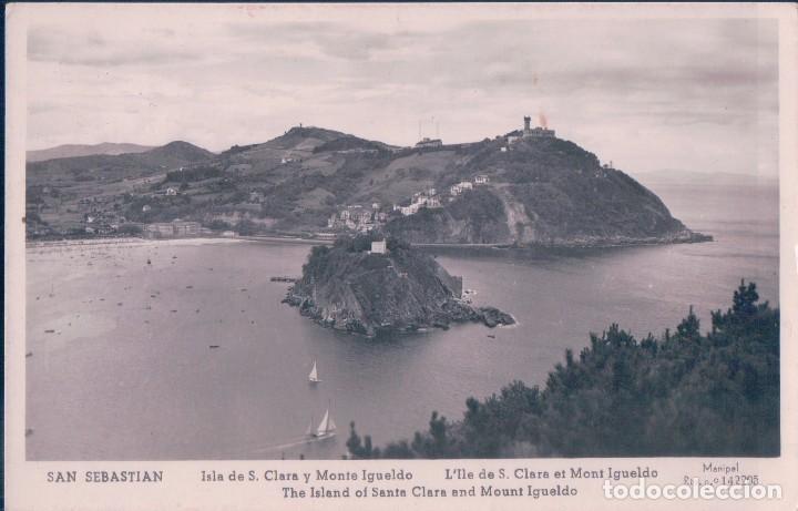POSTAL SAN SEBASTIAN. ISLA DE S. CLARA Y MONTE IGUELDO. FOTO POSTAL. MANIPEL (Postales - España - Pais Vasco Antigua (hasta 1939))