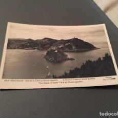 Postales: ANTIGUA POSTAL DE SAN SEBASTIÁN - ISLA DE SANTA CLARA Y MONTE IGUELDO. Lote 75787055