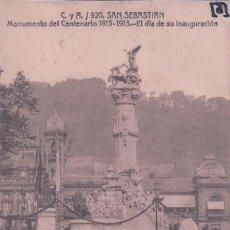 Postales: POSTAL SAN SEBASTIAN - MONUMENTO DEL CENTENARIO 1813 - 1913 EL DIA DE SU INAUGURACION. CYA 920 CIRC . Lote 78107713