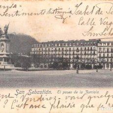 Postales: SAN SEBASTIÁN (GUIPUZCOA).- EL PASEO DE ZURRIOLA. Lote 88276976
