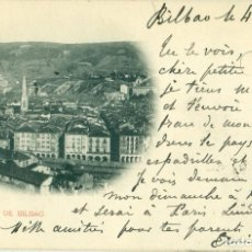 Postales: CENTRO DE BILBAO, CIRCULADA EN 1899 CON UN PELÓN. HAUSER Y MENET.. Lote 88856148