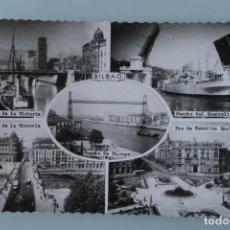 Postales: ANTIGUA POSTAL BILBAO PUENTE DE LA VICTORIA, GENERALISIMO, VIZCAYA, PLAZA FEDERICO MOYUA – AÑOS 60 . Lote 90635630