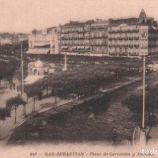 Postales: POSTAL SAN SEBASTIAN - PLAZA DE CERVANTES Y AVENIDA / P.MUNDI/P.VASCO-32 BUEN ESTADO. Lote 91433435