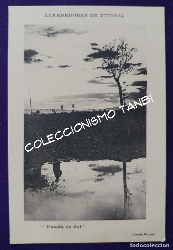 POSTAL DE VITORIA (ALAVA). ALREDEDORES DE VITORIA. PUESTA DE SOL. LIBRERIA GENERAL. AÑO 1910-1915 (Postales - España - Pais Vasco Antigua (hasta 1939))