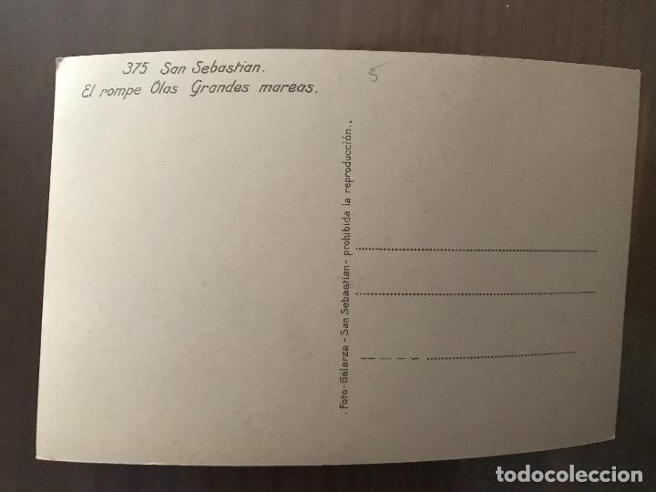 Postales: ANTIGUA POSTAL SAN SEBASTIÁN EL ROMPE OLAS GRANDES MAREAS 375 FOTO GALARZA - Foto 2 - 95394023