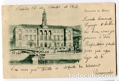 BILBAO AYUNTAMIENTO. REVERSO SIN DIVIDIR. CIRCULADA (Postales - España - Pais Vasco Antigua (hasta 1939))