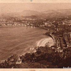 Postales: SAN SEBASTIAN VISTA DESDE MONTE IGUELDO - CON CENSURA MILITAR 1937. Lote 97576747