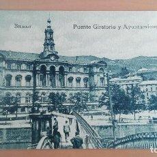Postales: POSTAL BILBAO AÑOS 20 VIZCAYA, PAIS VASCO. PUENTE GIRATORIO Y AYUNTAMIENTO. EDICION L.G. BILBAO. Lote 97844331
