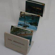 Postales: ALBUM ACORDEON 10 ANTIGUAS POSTALES FOTOCOLOR DE SAN SEBASTIAN AÑOS 60. Lote 97893811