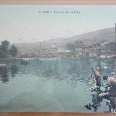 Postales: POSTAL BILBAO - PAISAJE DE LA PEÑA VIZCAYA PAIS VASCO. LAVANDERAS ALMACENES AMANN COLOR. Lote 98124659