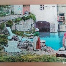 Postales: POSTAL BILBAO - LOS CAÑOS LAVANDERAS LA PEÑA. COSTUMBRES TIPOS VASCOS VIZCAYA PAIS VASCO. EDIC. L.G.. Lote 98185227