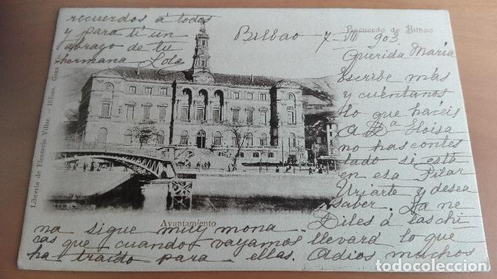 POSTAL RECUERDO DE BILBAO AYUNTAMIENTO VIZCAYA PAIS VASCO. ED: ELEUTERIO VILLAR PUENTE GIRATORIO SEP (Postales - España - Pais Vasco Antigua (hasta 1939))