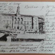 Postales: POSTAL RECUERDO DE BILBAO AYUNTAMIENTO VIZCAYA PAIS VASCO. ED: ELEUTERIO VILLAR PUENTE GIRATORIO SEP. Lote 98355287