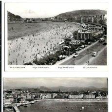 Postales: LOTE DE 9 FOTOS-POSTAL DE SAN SEBASTIAN - UNA CIRCULADA EL 11 - 8 - 1954. Lote 99641523