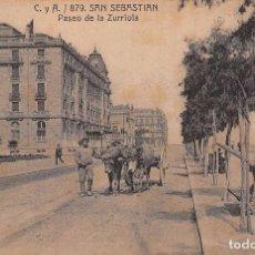 Postales: SAN SEBASTIÁN (GUIPUZCOA).- PASEO DE LA ZURRIOLA. Lote 100132211