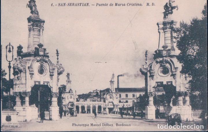 POSTAL SAN SEBASTIAN 4 - PUENTE DE MARIA CRISTINA - M.D. DELBOY (Postales - España - Pais Vasco Antigua (hasta 1939))