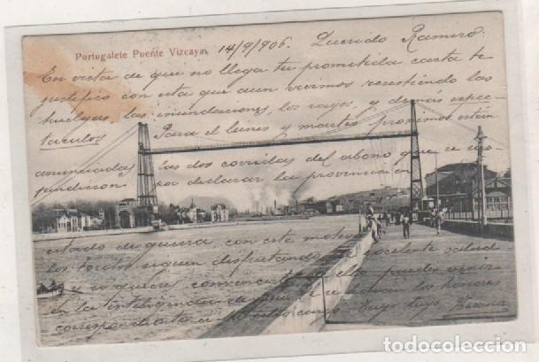PORTUGALETE PUENTE VIZCAYA. L. G. BILBAO. CIRCULADA. REVERSO SIN DIVIDIR. (Postales - España - Pais Vasco Antigua (hasta 1939))