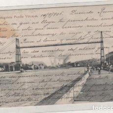 Postales: PORTUGALETE PUENTE VIZCAYA. L. G. BILBAO. CIRCULADA. REVERSO SIN DIVIDIR. . Lote 104060939