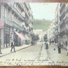 Postales: SAN SEBASTIÁN. CALLE HERNANI. (EJG). REVERSO SIN DIVIDIR. CIRCULADA EN 1906. . Lote 104150223
