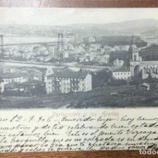 Postales: PORTUGALETE Y LAS ARENAS. (ROMMLER & JONAS) CIRCULADA EN 1906. REVERSO SIN DIVIDIR. . Lote 104153711