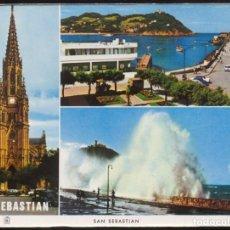 Postales: 39 - SAN SEBASTIAN.- CATEDRAL - CLUB NAUTICO Y BAHIA - TEMPESTAD. Lote 104165079