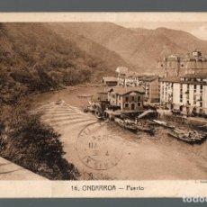 Postales: ONDARROA. EL PUERTO. FRANQUEADA EN JULIO DE 1934.. Lote 104180963