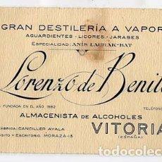 Postales: TARJETA PUBLICITARIA VITORIA LORENZO DE BENITO DESTILERIA ANIS LAURAK-BAT. ALCOHOLES. . Lote 104230575
