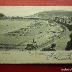 Postales: POSTAL - ESPAÑA - SAN SEBASTIAN - LA CONCHA - ROMMLER & JONÁS -16564,12 - ESCRITA EN 1904. Lote 104414987