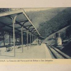 Postales: ANTIGUA POSTAL ALZOLA. LA ESTACION DE FERROCARRIL DE BILBAO A SAN SEBASTIAN. FOTOTIPIA THOMAS.. Lote 105571235