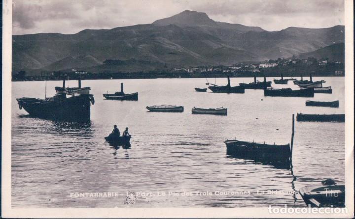 POSTAL FOTOGRAFICA - FONTARRABIE - LE PORT LE PIO DES TROIS COURONNES - LA BIDASOA - TITO - CIRCULAD (Postales - España - Pais Vasco Antigua (hasta 1939))