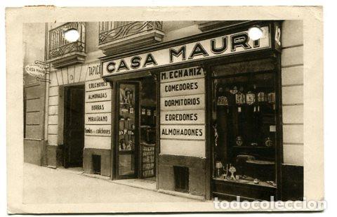 SAN SEBASTIAN POSTAL COMERCIO CASA MAURI. M. ECHANIZ. COLCHONERIA, MUEBLES. ESCRITA POR M. ECHANIZ (Postales - España - Pais Vasco Antigua (hasta 1939))