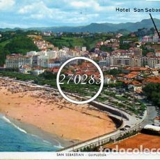Postales: SAN SEBASTIAN PLAYA DE ONDARRETA Y HOTEL SAN SEBASTIAN - MANIPEL - ESCRITA AL DORSO - AÑO 1967. Lote 111597259