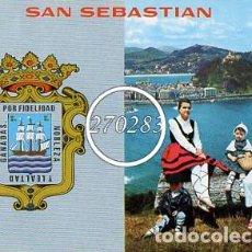 Postales: SAN SEBASTIAN Nº 29 ESCUDO DE SAN SEBASTIAN Y VISTA DESDE ULIA - MANIPEL - ESCRITA AL DORSO-AÑO 1973. Lote 111608075