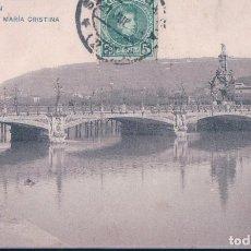 Postales: POSTAL 1719 HAUSER Y MENET SAN SEBASTIAN - PUENTE DE MARIA CRISTINA - CIRCULADA - SIN DIVIDIR. Lote 112312187