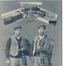 Postales: VIZCAYA- BILBAO- PAREJA TIPOS VASCOS Y PAISAJES- LACOSTE- MUY RARA. Lote 112977499