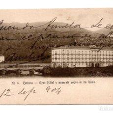 Postales: CESTONA (GUIPUZCOA) GRAN HOTEL Y PASARELA SOBRE EL RIO UROLA. Lote 115001991